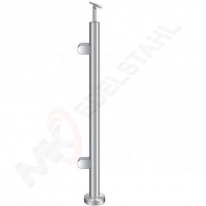 Endpfosten Ø42,4mm, h=1000mm, Handlaufhalter flexibel Ø42,4mm, für Stiege